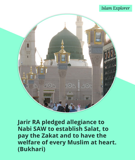 Jarir RA pledged allegiance to Nabi SAW to establish Salat