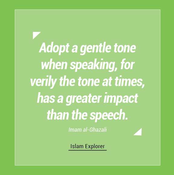 Adopt a gentle tone when speaking, for verily the tone at times