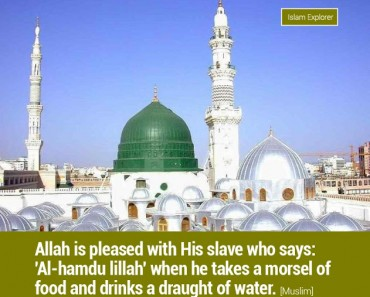 Allah is pleased with His slave who says: 'Al-hamdu Lillah'