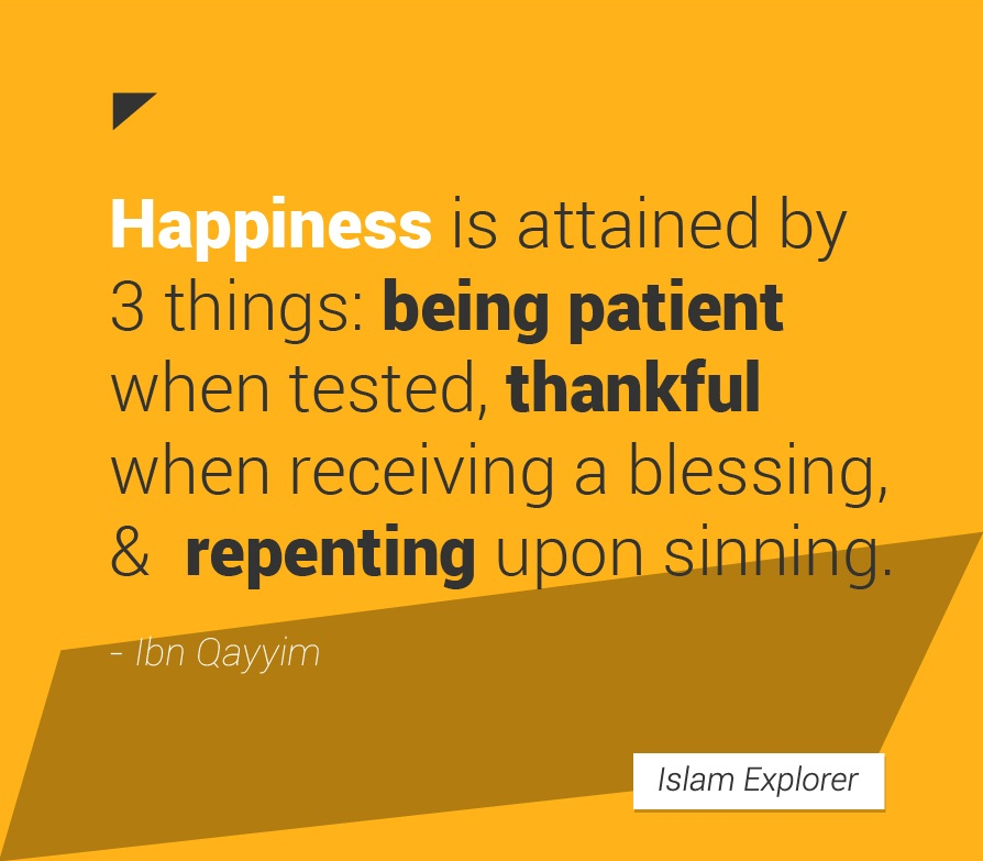 Happiness is attained by 3 things