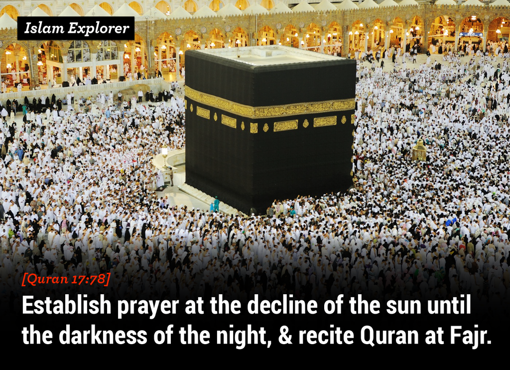 Establish prayer at the decline of the sun until the darkness of the night