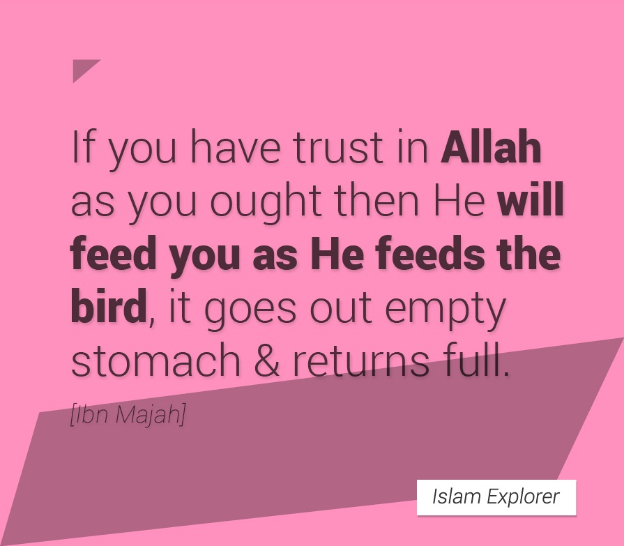 If you have trust in Allah as you ought them He will feed you as He feeds the bird