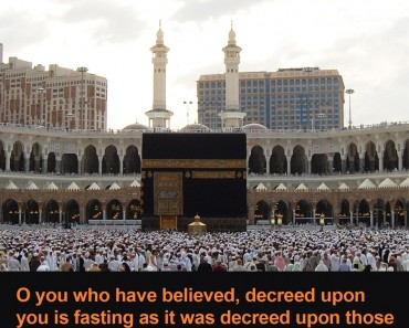 O you who have believed, decreed upon you is fasting